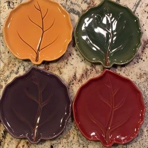 Pottery Barn Autumn Leaf plates. Set of four.